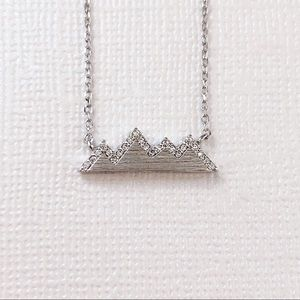 Jewelry - Silver Pave CZ Mountain Dainty Necklace